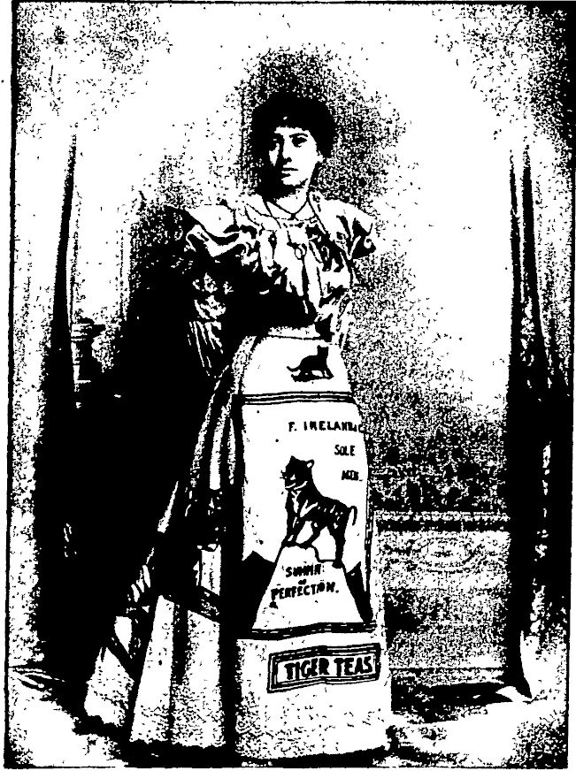 Poster ball costume advertising Tiger Tea at Palmerston North Poster ball. Otago Witness, 24 September 1902, Page 37