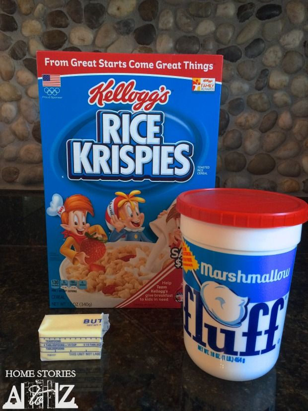 Marshmallow fluff rice krispie treat recipe uses small jar of fluff or half a large jar