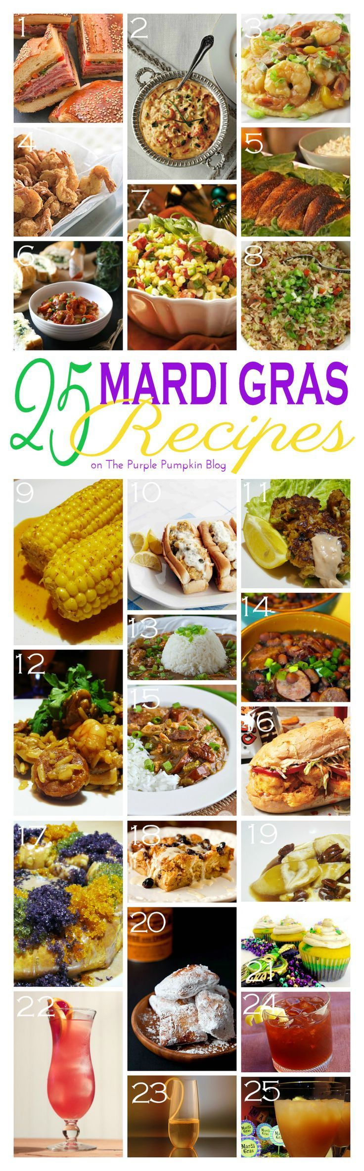 25 Mardi Gras Recipes - lots of great ideas with appetizers, entrees, desserts and cocktails! Saving this for Mardi Gras party time!