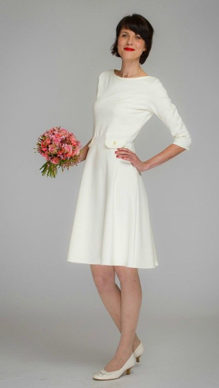 Simple Knee Length Wedding Dress For Second Wedding