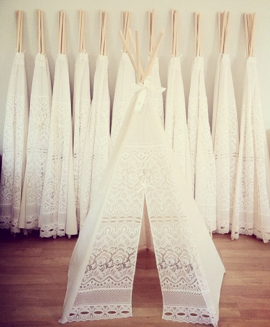 Mini Lace Tee Pees. Sweet for a girls room.