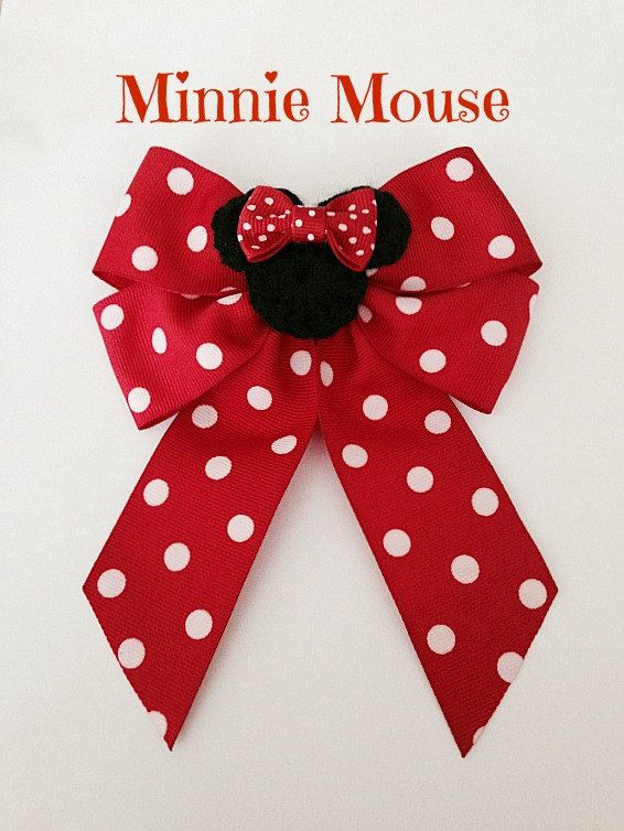 Disney inspired Minnie Mouse hair bow by BellaRayneDesigns on Etsy