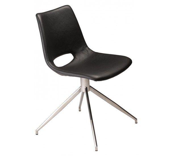 Spisebordsstol med sort læderlook - Gratis fragt