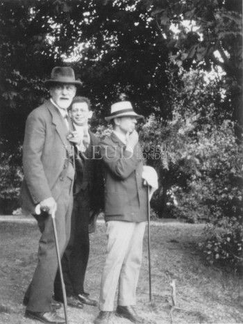 Freud, Sigmund: Rank, Otto: Jones, Ernest  Date: 1918 Location: Austria, Vienna, Kobenzl[?]