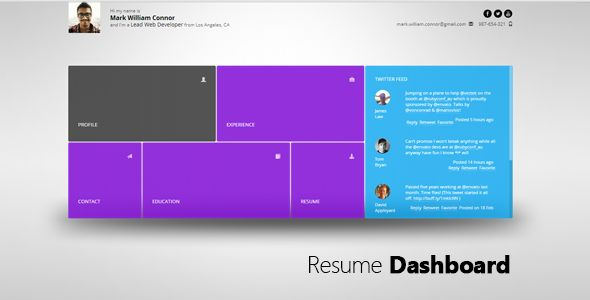 Resume Dashboard . Resume Dashboard is a responsive personal virtual card site