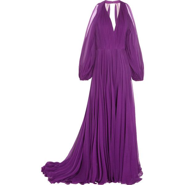 Jenny Packham Cutout pleated silk-chiffon gown ($1,270) ❤ liked on Polyvore featuring dresses, gowns, purple, long purple dress, cut out dresses, long evening dresses, cutout dresses and long dresses