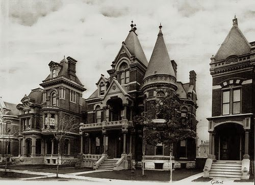 Brush Park, Detroit in the 1900's. The area experiences a decline in the 20th Century. The Great Depression led to many mansions being subdivided into apartments and others fell to disuse. Many of the mansions are beyond repair, some demolished. But the area is experiencing a revival. Frost House is seen in the middle. Now demolished
