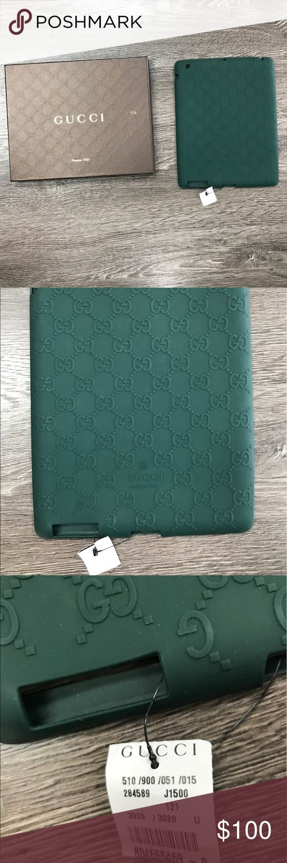 Auth Gucci hunter Gwen rubber I-Pad case New In Box..Beautiful GUCCI green rubber stretch I-Pad case.. flexible & gorgeous... Gucci Accessories Phone Cases