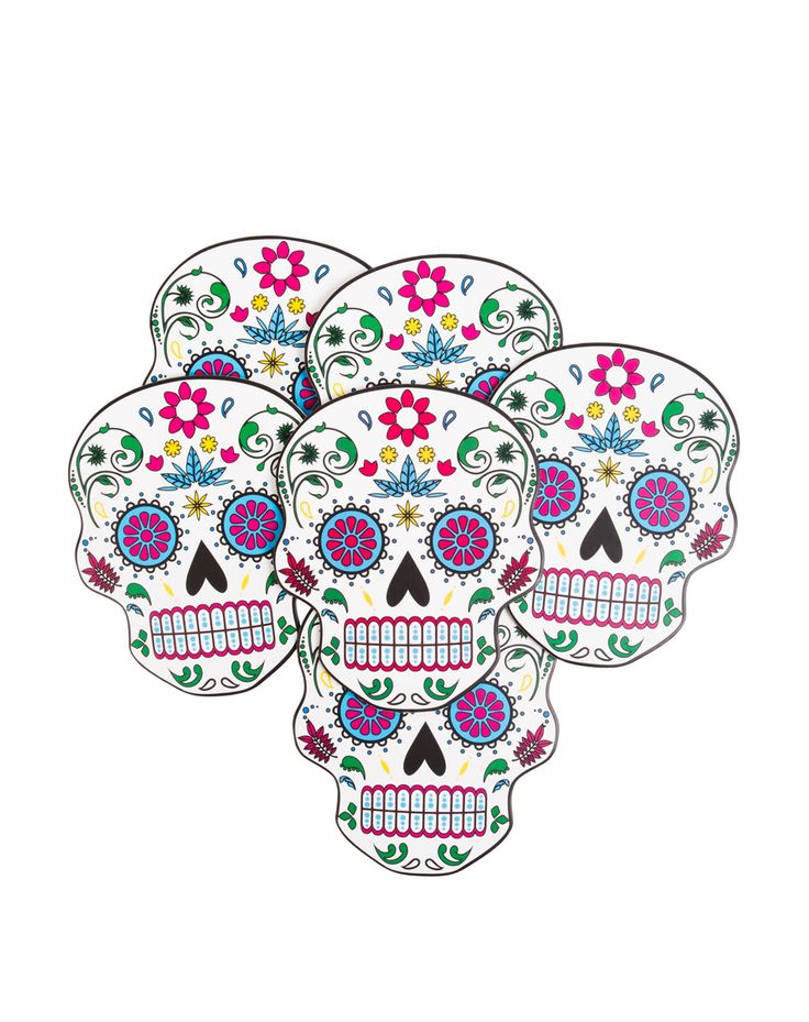 Sugarskull Coasters at Spirit Halloween - Set your drinks down on something spooky with the Sugarskull Coasters. These fun coasters feature a sugar skull shape and design that will make your house the most visited on the block. Get them for your Halloween party for only $5.99