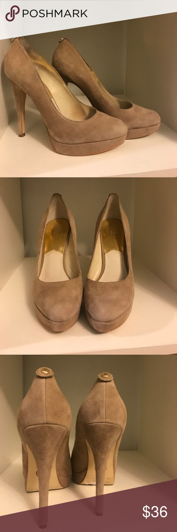 """Michael Michael Kors nude suede platform pumps Michael Michael Kors nude suede platform pumps. Like brand new. Only a bit of dirt on the bottoms. No wear to shoes at all. Heel is 5"""" total and platform is just under 1"""". MICHAEL Michael Kors Shoes Platforms"""