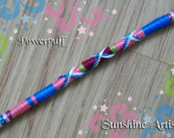 Powerpuff wrap-fermaglio per capelli in capelli treccia-brillante blu-brillante verde-cerise rosa scintillante blu-rosa argento-pony perline (con istruzioni)-SA