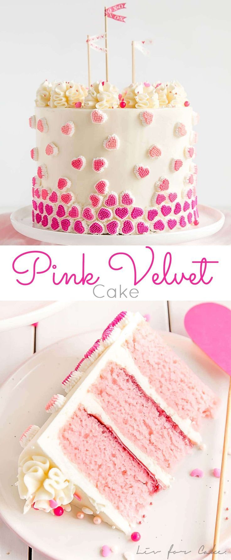This candy heart studded Pink Velvet Cake is the perfect way to celebrate Valentine's Day with the one you love! | livforcake.com
