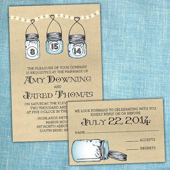Custom Mason Jar Wedding Invitations by PuttinOnTheGlitz4U on Etsy.