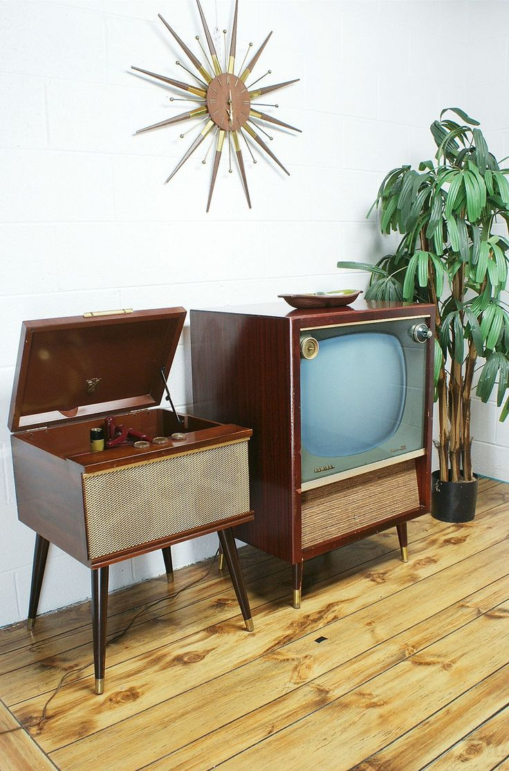 We had both of these in our living room! Vintage 50s 60s Admiral Console Television.