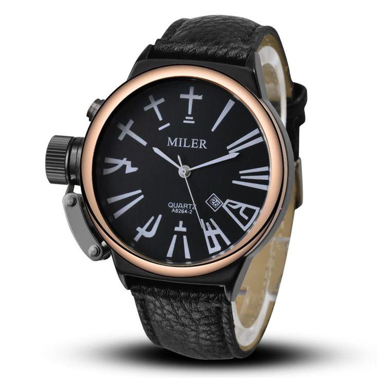 Nieuwe miler horloge pu lederen sport militaire quartz horloges out deur mode stijl analoge horloge ronde grote wijzerplaat relogs in            een goede keuze voor cadeau of decoratie.  Super uitstekende vintage ontwerp.  het is mode, vintage, ze van quartz horloges op AliExpress.com   Alibaba Groep