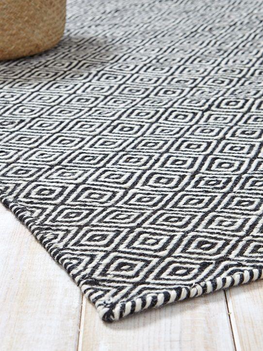 Teppich Rautenmuster Reine Wolle Blaugrau Schwarz