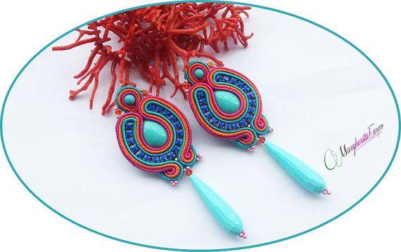 Handmade soutache earrings seaside style. Summer by 75marghe75