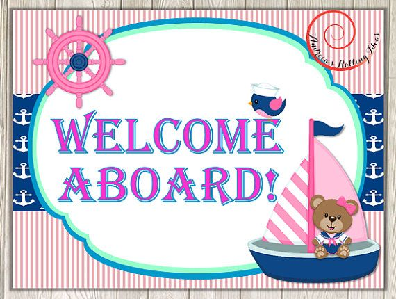 Sailor Girl Teddy Bear Nautical Theme Birthday Party Signs and