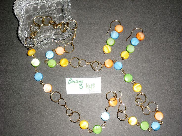 juego collar largo multicolor en nacar