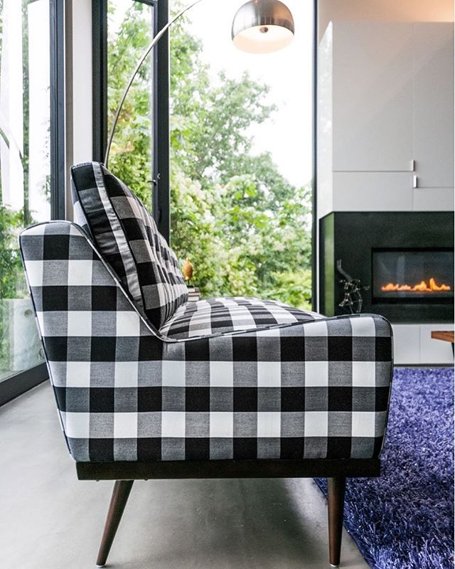 Elegant Elektra Sofa In Windowpane Plaid. Also Available In Chair And Loveseat  Versions. #midcenturymodern #kardiel #midcentury #midcenturymodernsofa  #midmod ...