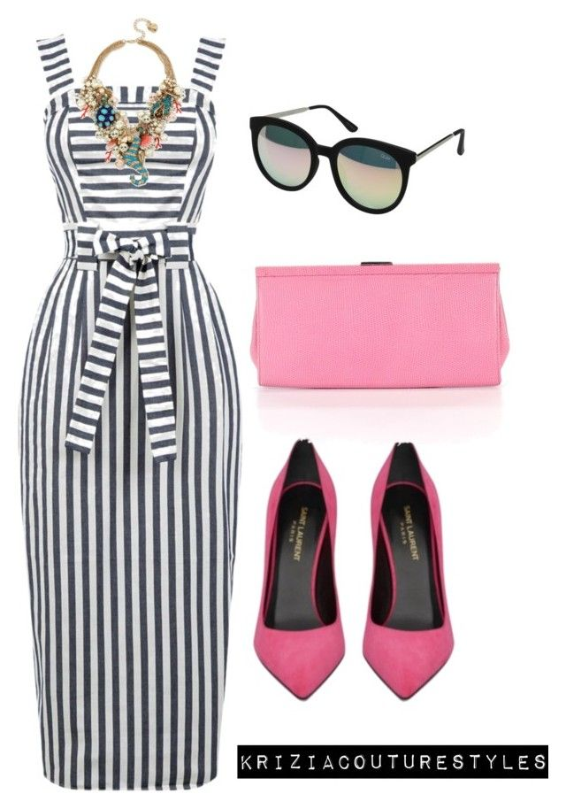 Untitled #536 by kriziacouture on Polyvore featuring polyvore fashion style Warehouse Yves Saint Laurent Banana Republic Betsey Johnson Quay clothing