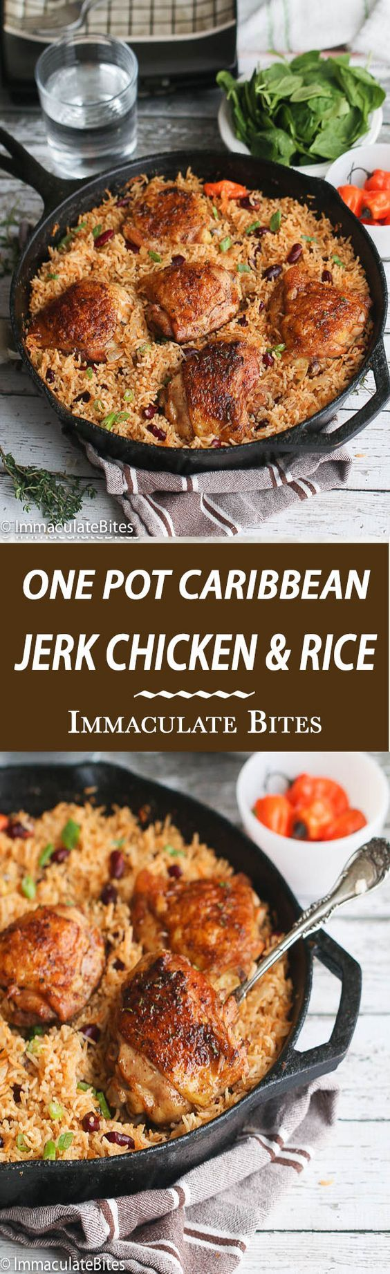 One Pot Caribbean Jerk Chicken & Rice – A flavor explosion in a pot! Jerk Chicken thighs baked to Crispy perfection on a bed of fragrant rice and beans.: