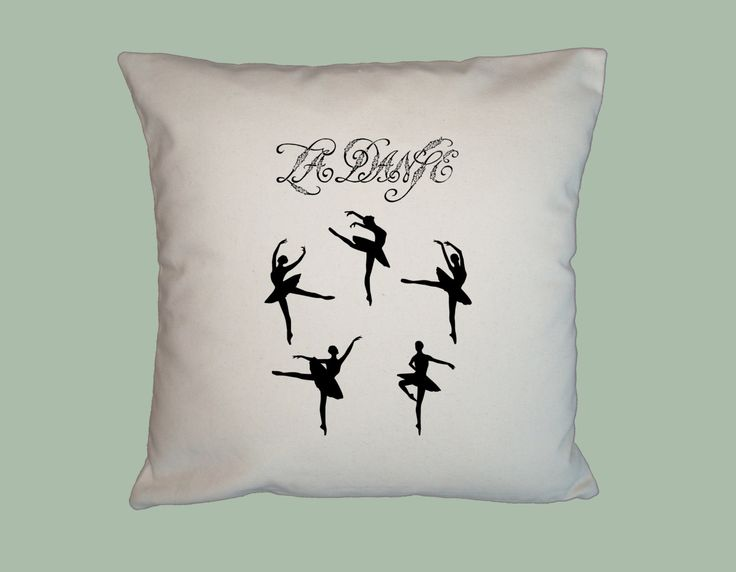 La Dance Ballerina, Sillhouette, Dancer, Ballet Illustration  - HANDMADE 16x16 Pillow Cover - Choice of Fabric by WhimsyFrills on Etsy
