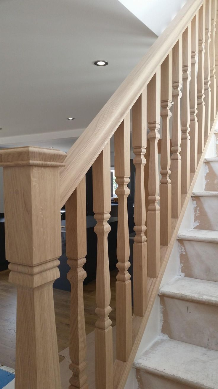 Oak Provincial Spindles And Newel Posts With Pyramid Newel Caps