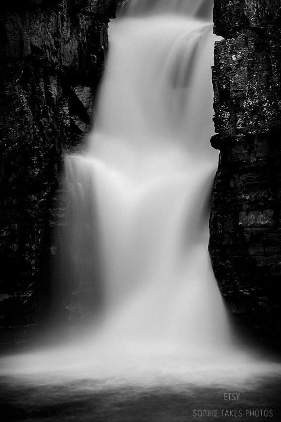 Waterfalls print, black and white photography, fine art photography, framed…