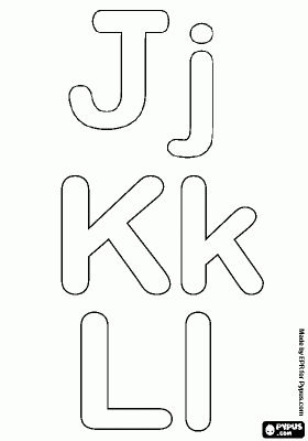 Letters J, K and L of the bubble alphabet coloring page