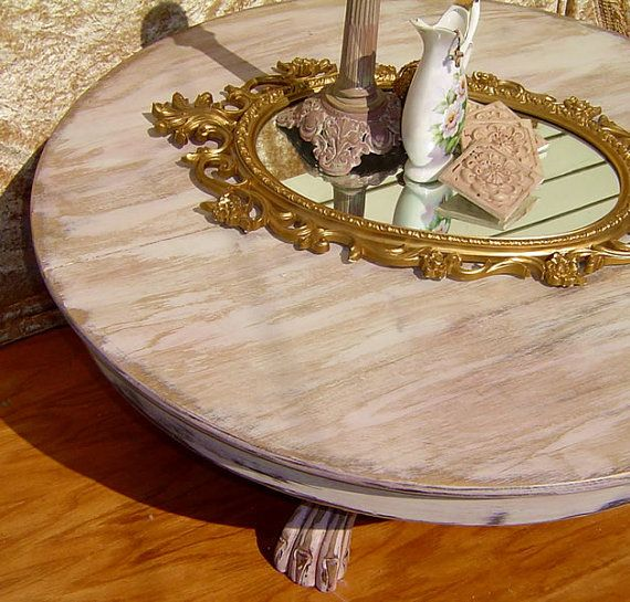 Round Coffee Table With Pedestal Claw Foot Base Painted Shabby White And Pale Pink With