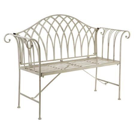 ACHICA   Finchwood Jardin Antique Cream Wrought Iron Bench