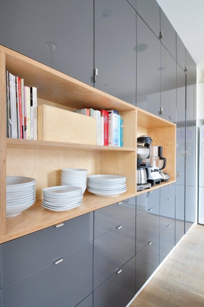 Glossy grey kitchen cabinets