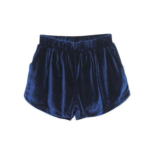 High Waist Drape Blue Velour Shorts ($45) ❤ liked on Polyvore featuring shorts, bottoms, pants, short, velour shorts, reversible shorts, high rise shorts, highwaisted shorts and blue short shorts
