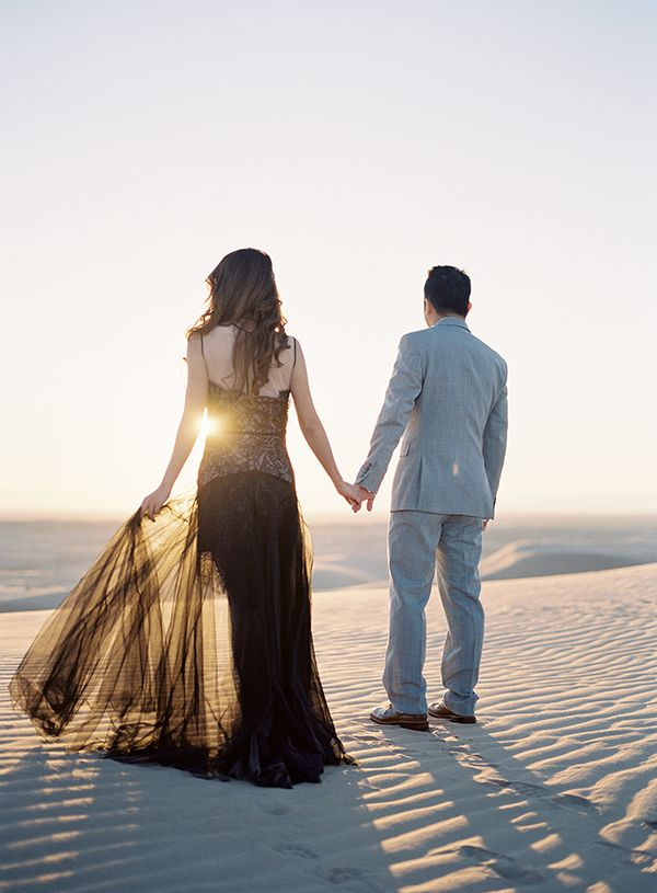 Desert Engagement Session, Glamis California, Black Gown, Ethereal | Heather Payne Photography