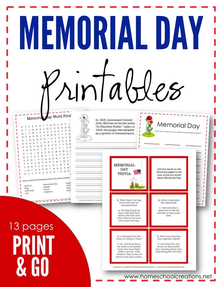 Free Memorial Day printables - copywork, trivia & facts, coloring pages, and word find to learn more about the holiday from Homeschool Creations.