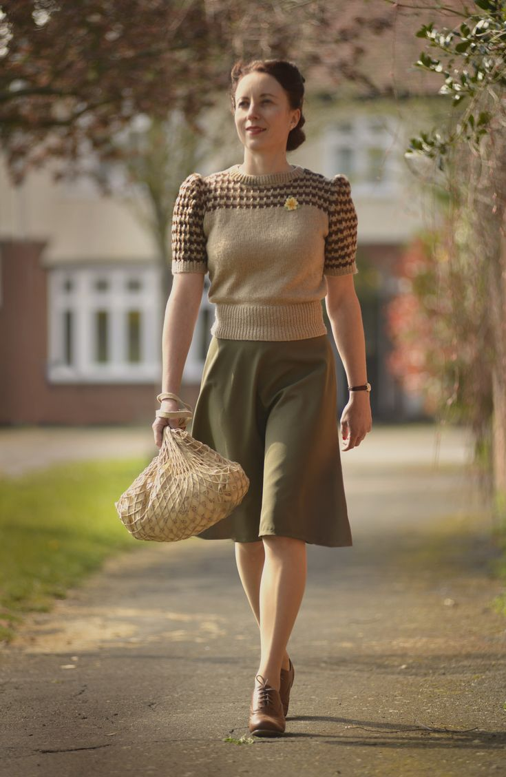 look inspired by Home Fires. Jumper hand-made from a 1940s pattern, skirt hand made, shoes from Shoezone