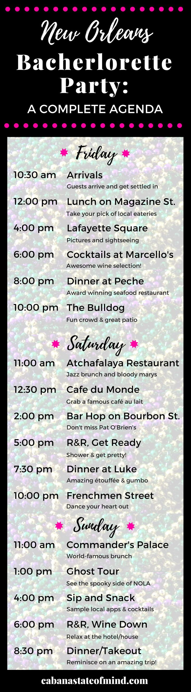A weekend agenda for your Bachelorette Party in New Orleans!