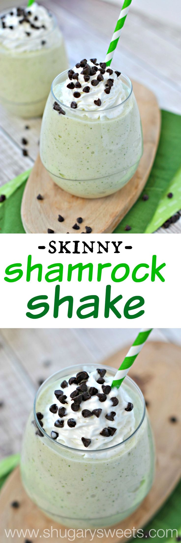 Skinny Shamrock Shake: made with frozen bananas, fat free milk, and mint! So easy and the perfect post workout treat!