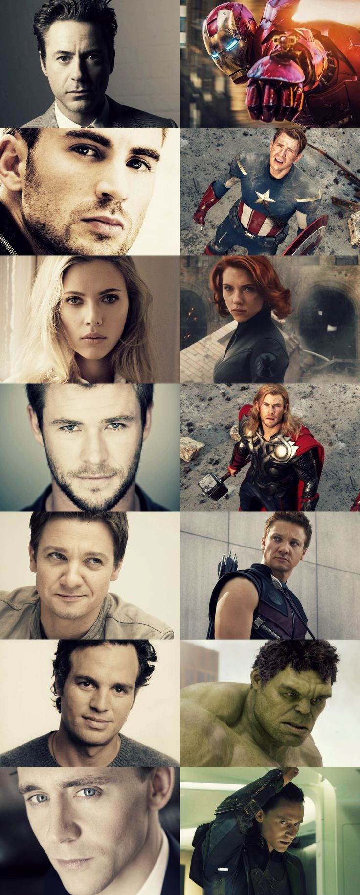 RDJ, Chris Evans, Scarlett Johansson, Christ Hemsworth, Jeremy Renner, Mark Ruffalo, Tom Hiddleston {The Avengers Cast}