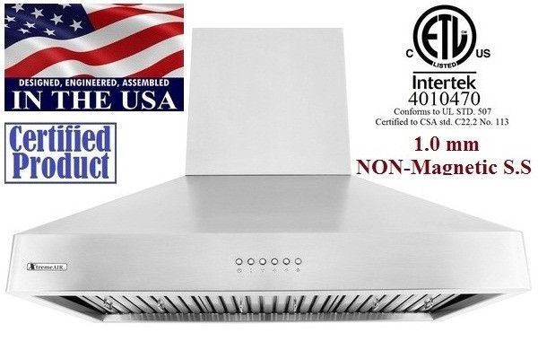 XtremeAir Non Magnetic Stainless Steel Wall Mount Range Hood DL08-W36