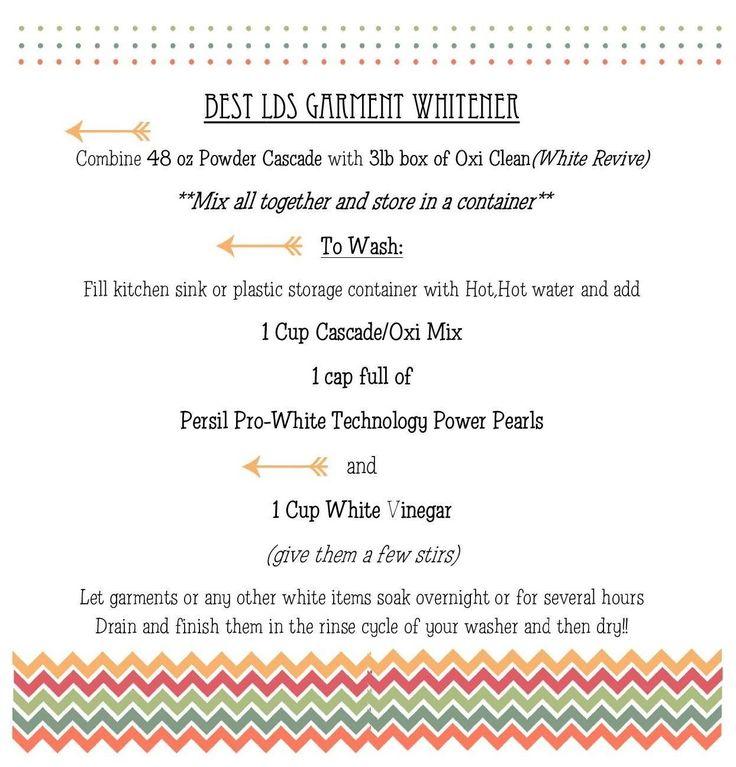 Garment whitener recipe! #LDS #Mormon