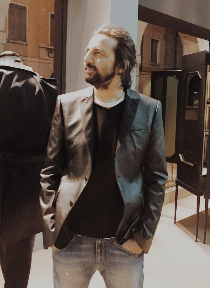 Our friend Omar Pedrini in good form with his personal eco-leather smoking jacket by Maison Lvchino