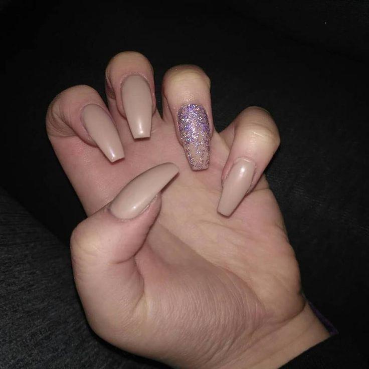 a Set of Gel nails I done #BallerinaShaped #NudeNails #GlitterOmbre