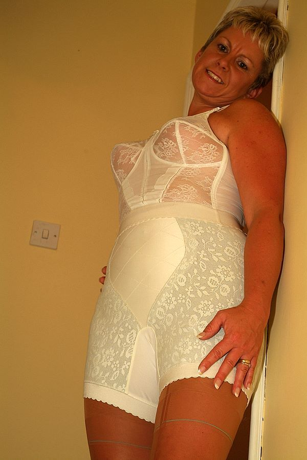 Stockings mature girdle