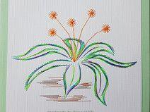 Fadengrafik Grußkarten Set 197 Blumen