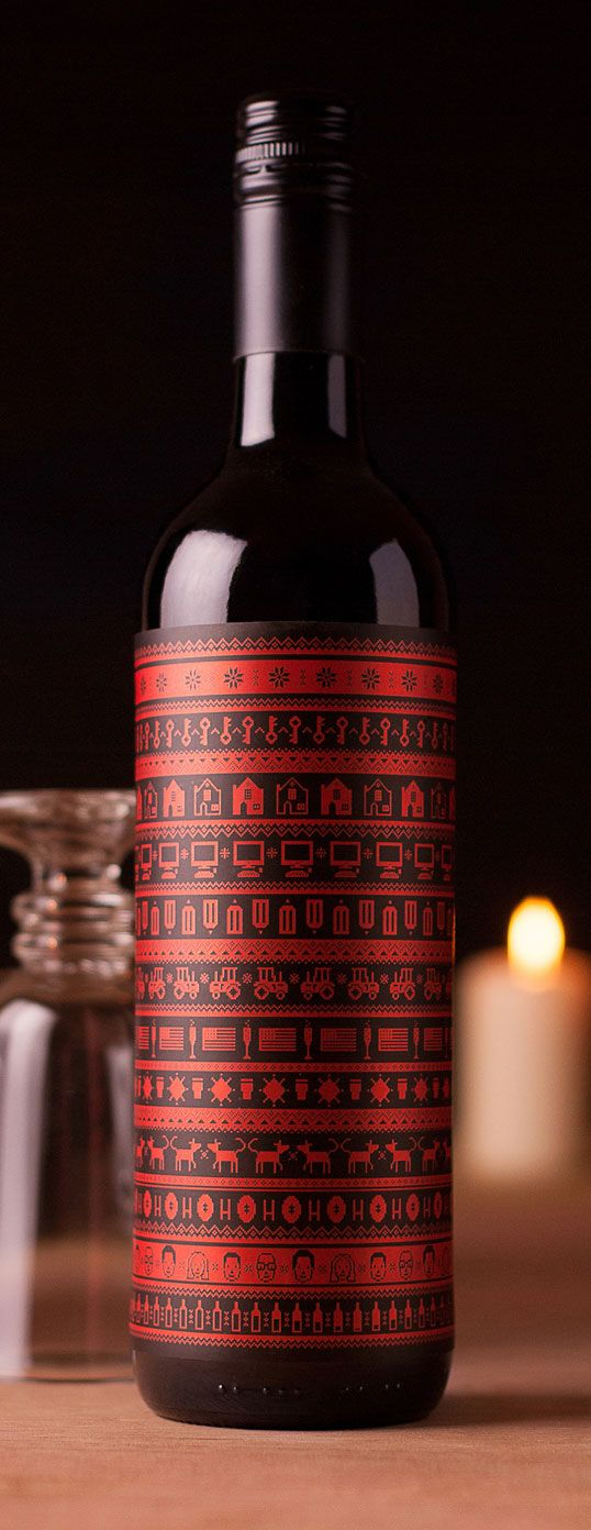 """Designed by Buddy Uited Kingdom. """"Our Mulled Wine design this year is a Buddy-take on traditional Nordic Christmas patterns. Every row of the pattern represents an anecdote from each month of the year, accompanied by a warming narrative on the reverse. PD"""
