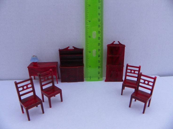 Vintage 1950's Allied Plastic Dollhouse Furniture 8 Piece Brown Set , Miniature Furniture for Tin Metal Dollhouse , Mini Doll House , 1:24 by ShersBears on Etsy