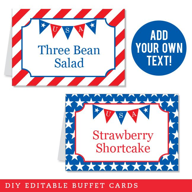 Fourth of July Bunting Banner Editable Buffet Cards (INSTANT DOWNLOAD)