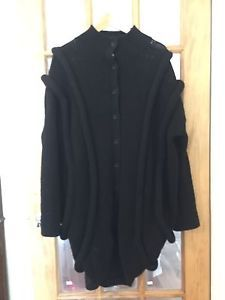 Helmet Lang Gorgeous Cardigan  Sweater Coat Large black Japanese Wool  | eBay